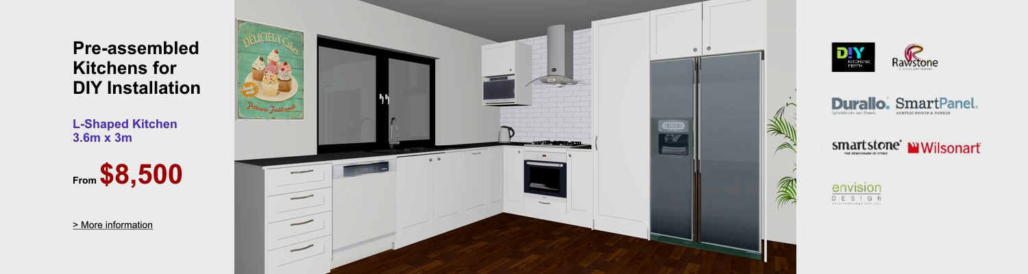 Diy kitchens perth flatpack kitchens perth diy kitchen renovations pre assembled l shaped kitchen for diy installation solutioingenieria Choice Image