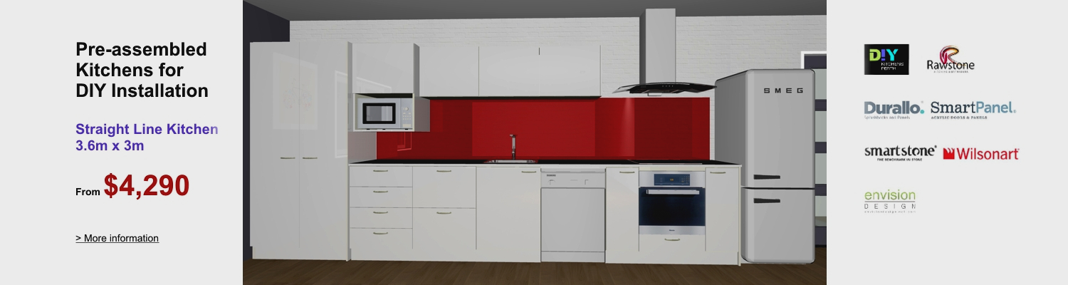 Diy kitchens perth flatpack kitchens perth diy kitchen renovations pre assembled straight line kitchen for diy installation solutioingenieria Choice Image